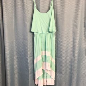 Mint green and white striped dress